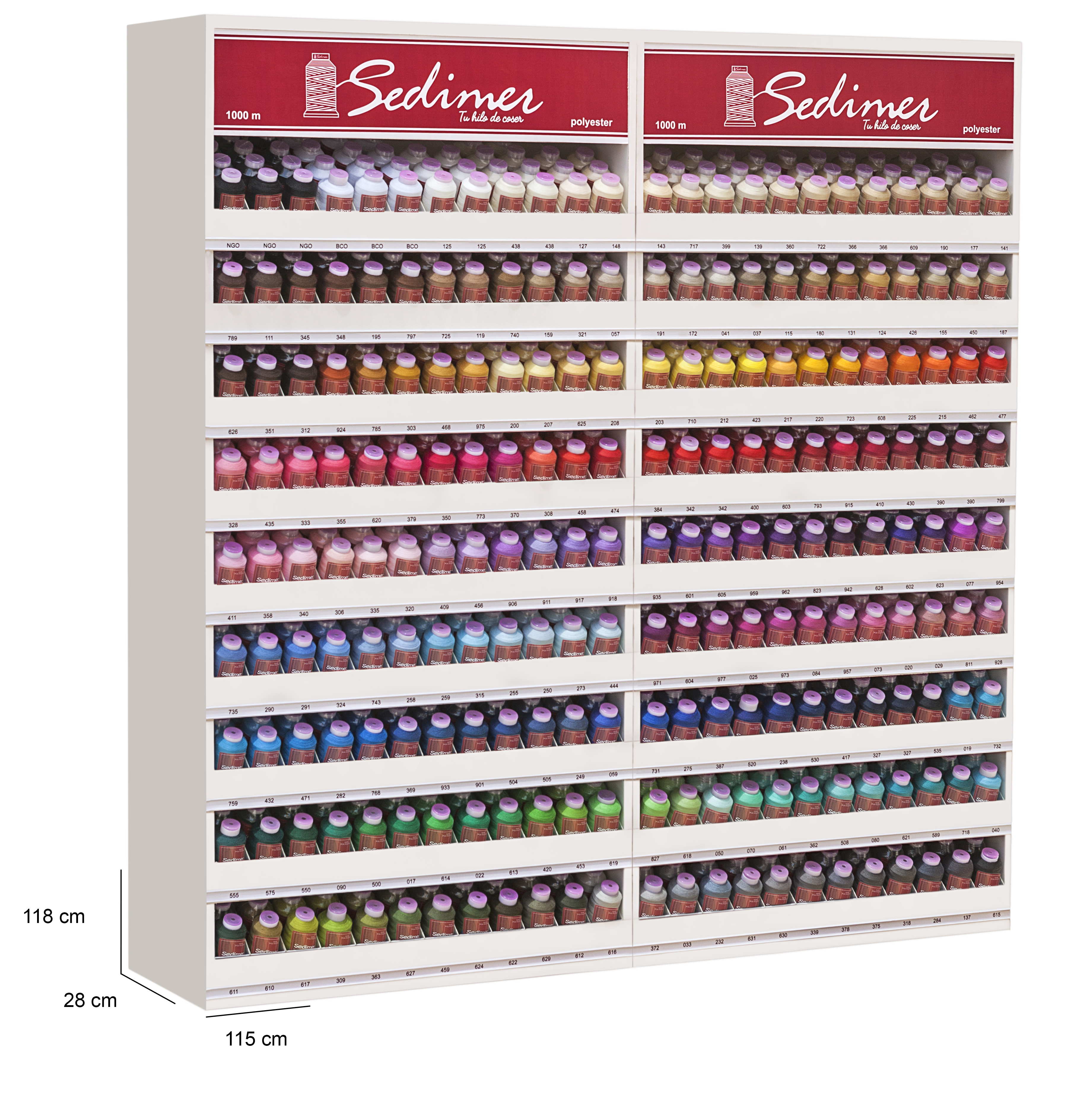 Expositor conjunto de CRT con 206 colores